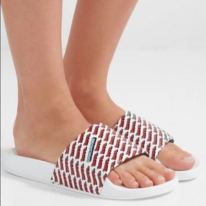 Marc Jacobs Love Printed Leather Slides White Red